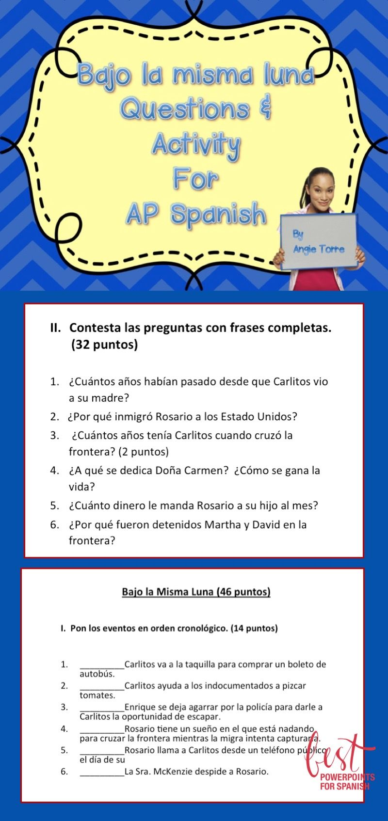 Bajo La Misma Luna Questions And Activity For Ap Spanish Teaching