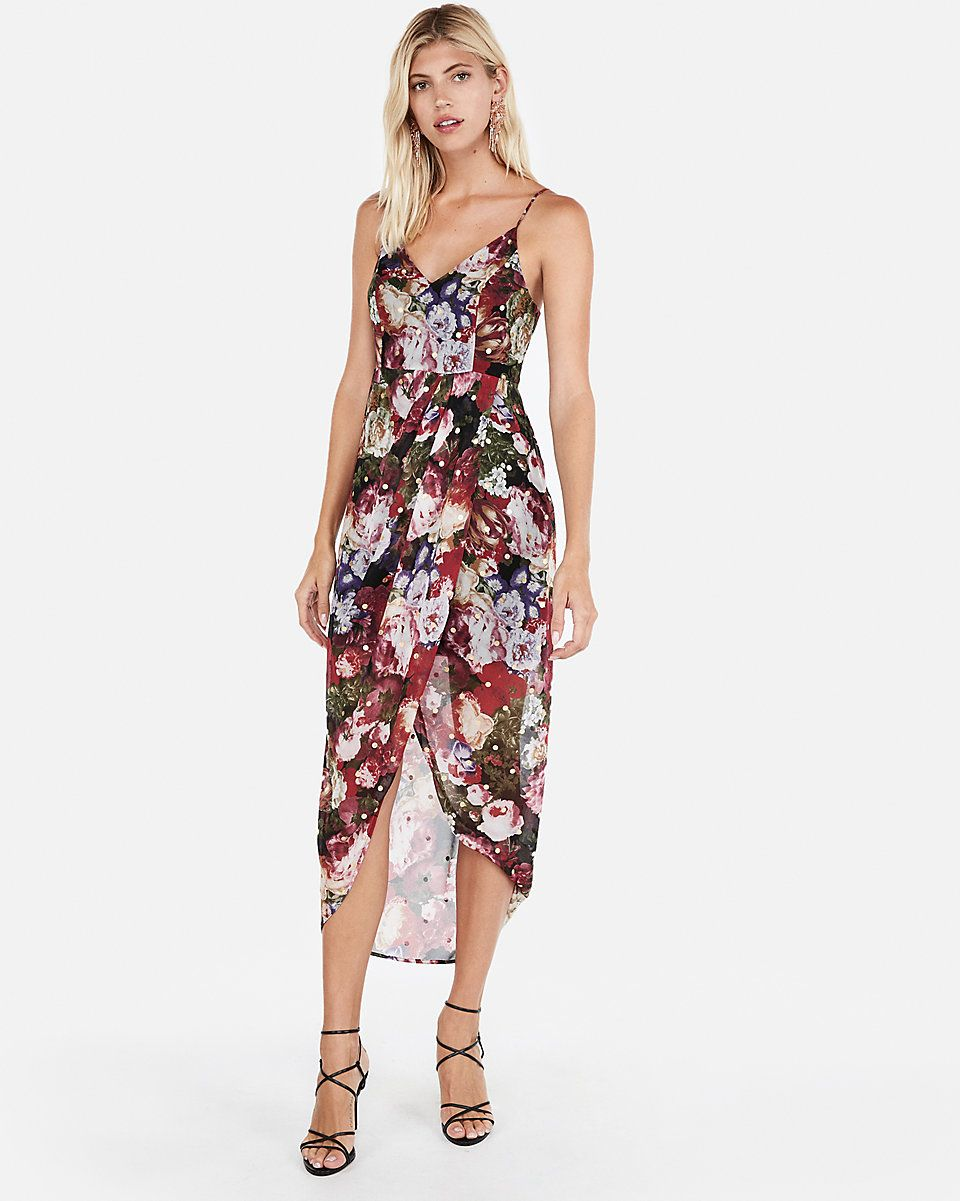 bd555a09590 Floral Chiffon Surplice Maxi Dress