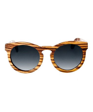 Look at this #zulilyfind! Natural Zebra Wildcat Wood Sunglasses #zulilyfinds