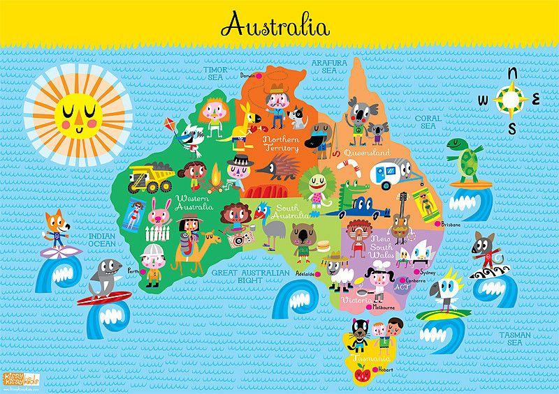 Kids Australia Map World Thinking Day Australia Crafts Australia Map World Thinking Day