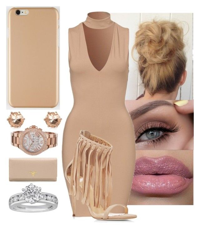 """i want something real"" by yanniixo on Polyvore featuring Giuseppe Zanotti, River Island, Michael Kors, Prada, Tiffany & Co., Heels, dress, nude and rosegold"