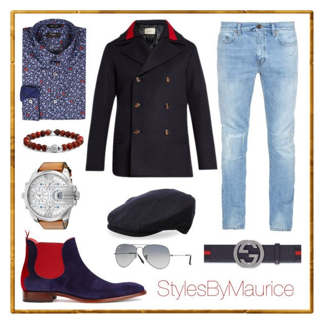 """""""Ready for the Winter"""" by mauricee-brewer on Polyvore featuring Jeffery-West, Gucci, Paul Smith, Yves Saint Laurent, Amicale, Diesel, Ray-Ban, men's fashion and menswear"""