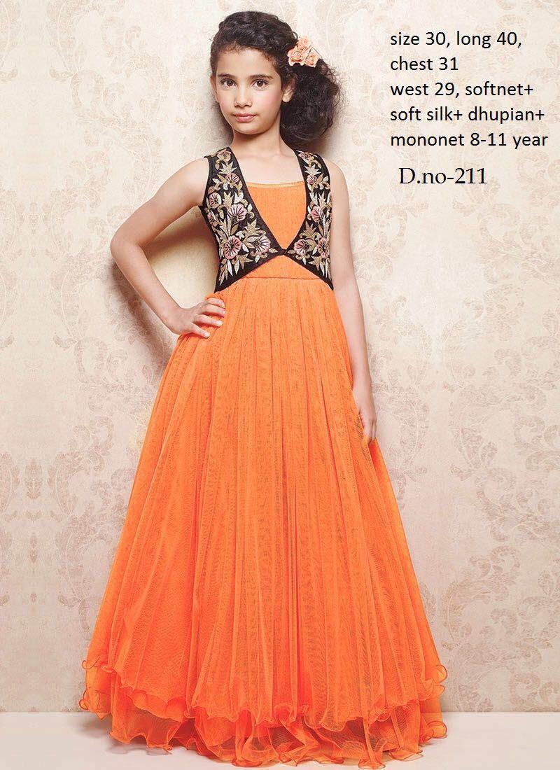 Readymade orange soft net kids gown in kids frock pinterest