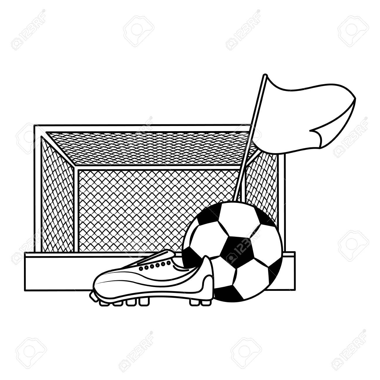 Soccer Football Sport Game Competition Play Activity Field And Game Objects Cartoon Vector Illustration Grap Competition Games Cartoons Vector Play Activities
