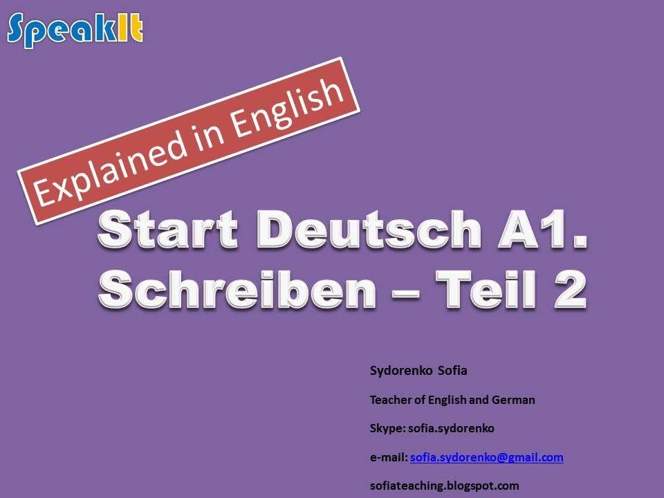 Start Deutsch A1 Schreiben Teil 2 Briefe Eng German Lang