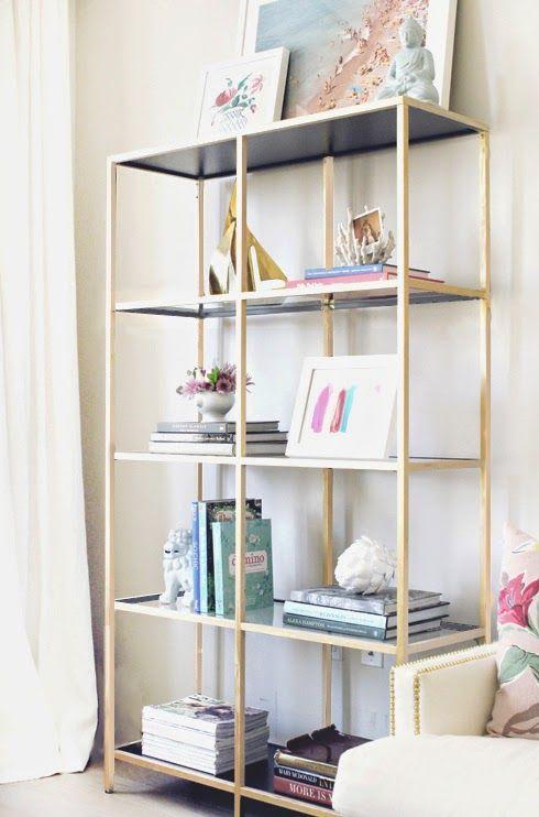 gold black bookshelf diy - Gold Bookshelves