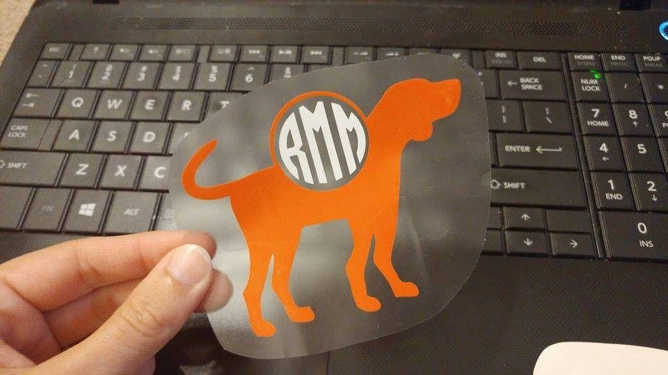 hound dog, hound, dog, monogram, decal, car decal, team