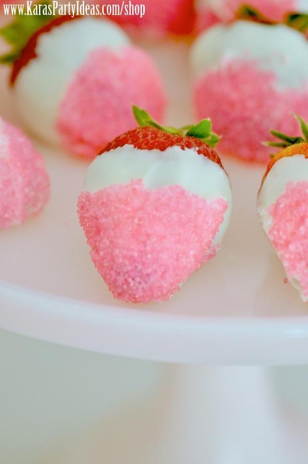 9e304cb73 Strawberries dipped in white chocolate and pink sprinkles! Love! Via Kara's  Party Ideas KarasPartyIdeas.com Kara Allen