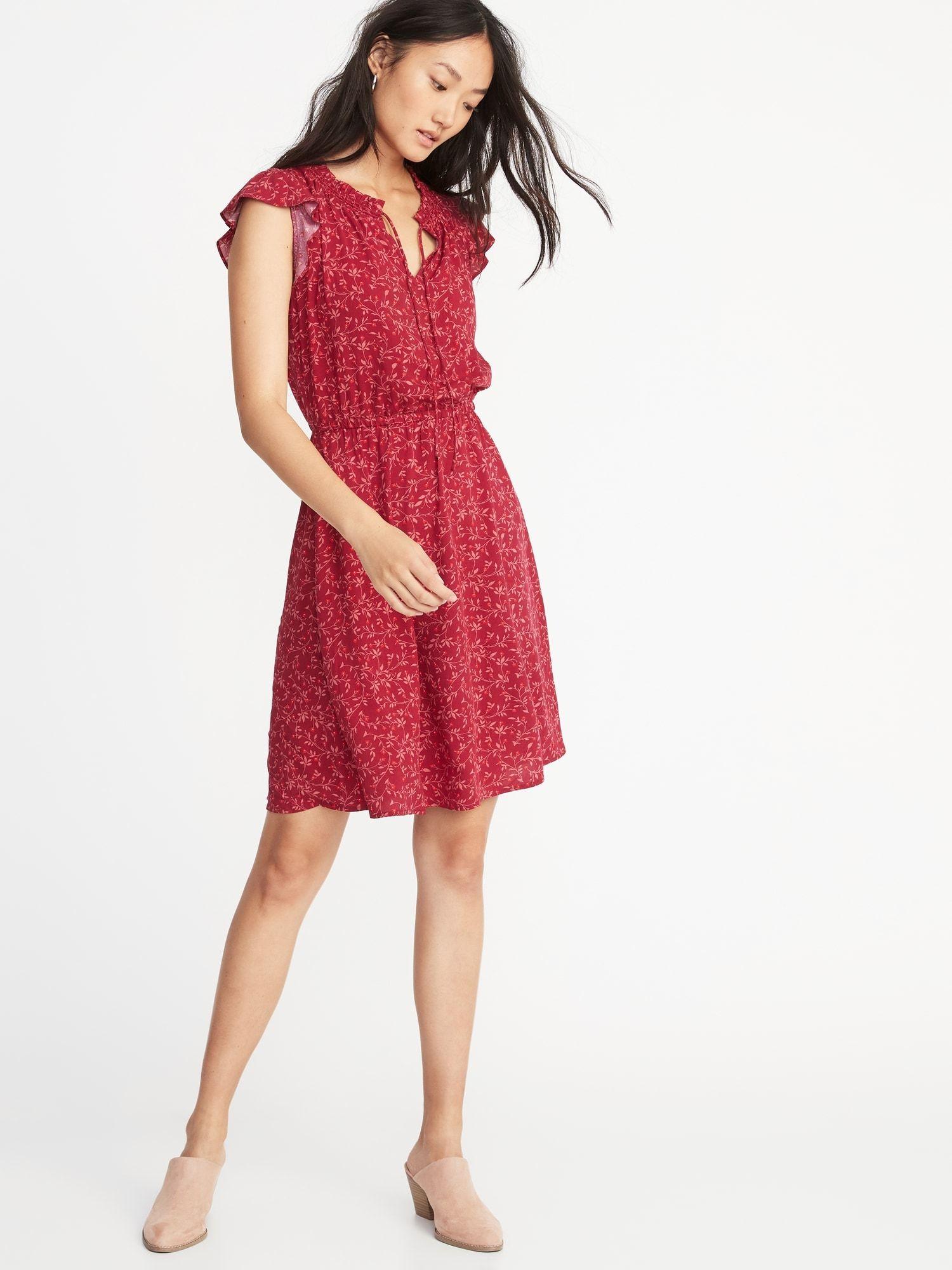7f1fd601c7 Waist-Defined Flutter-Sleeve Dress for Women in 2019 | Stylin ...
