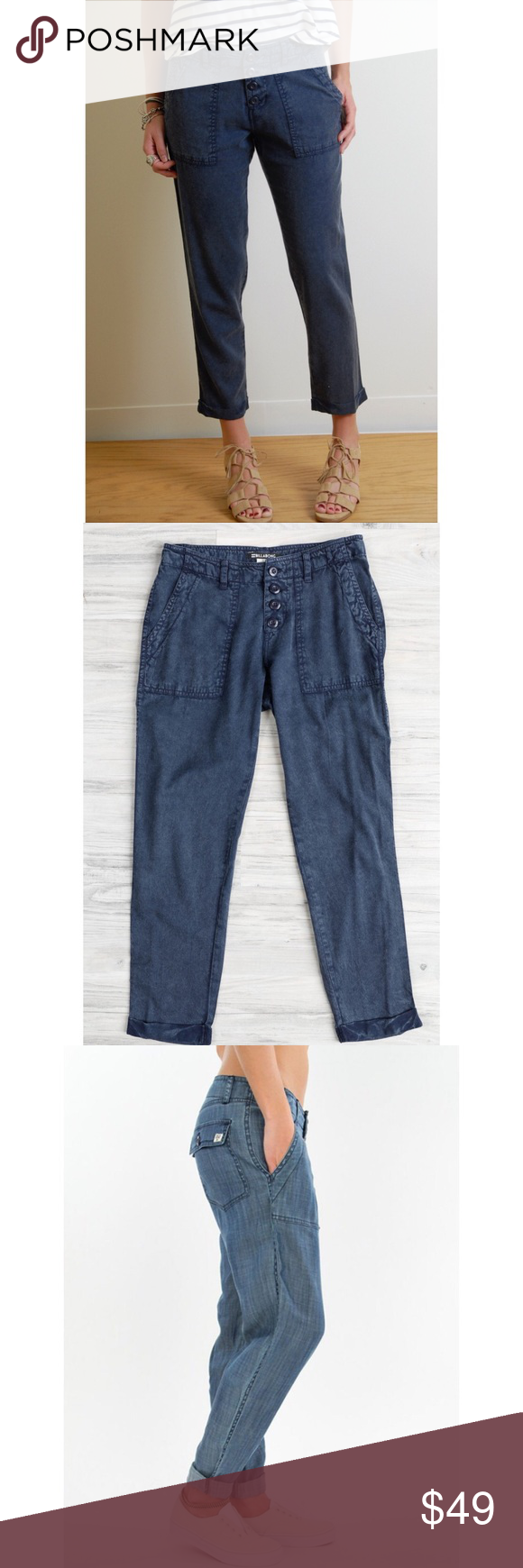 """✨FLASH SALE✨ Billabong Kick Back Pants ✨NWT✨ Brand: Billabong, Size: 25, Color: Deep Sea Blue, relaxed fit, purposely faded """"salt-washed"""" to give a beach vibe, lightweight and soft! ***The last photo is NOT the color of the item, it is just provided to show the style of the pant - the pants I am selling are DARK blue*** Billabong Pants"""