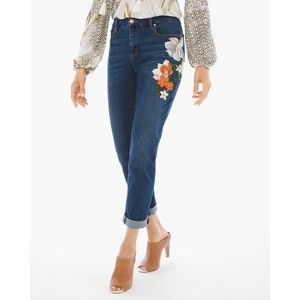 Chico's So Slimming Painted Botanical Girlfriend Ankle Jeans