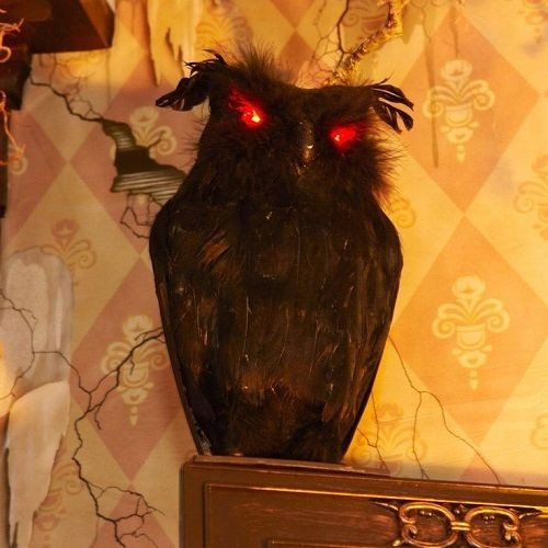 NEW BLACK OWL SCARY HALLOWEEN DECORATION LAWN PARTY PROP HAUNTED
