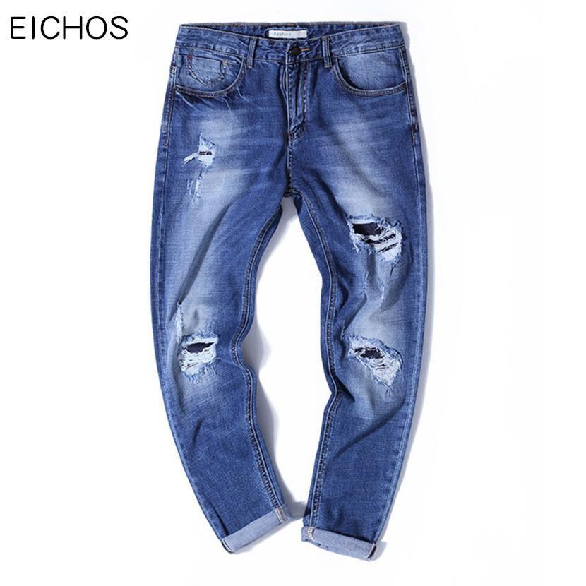 6168b30635dde 2017 Summer 98%Cotton Holes Ankle-Length Pants Men Slim Pantalones Vaqueros  Hombre Hip Hop Teens Skinny Jeans Men