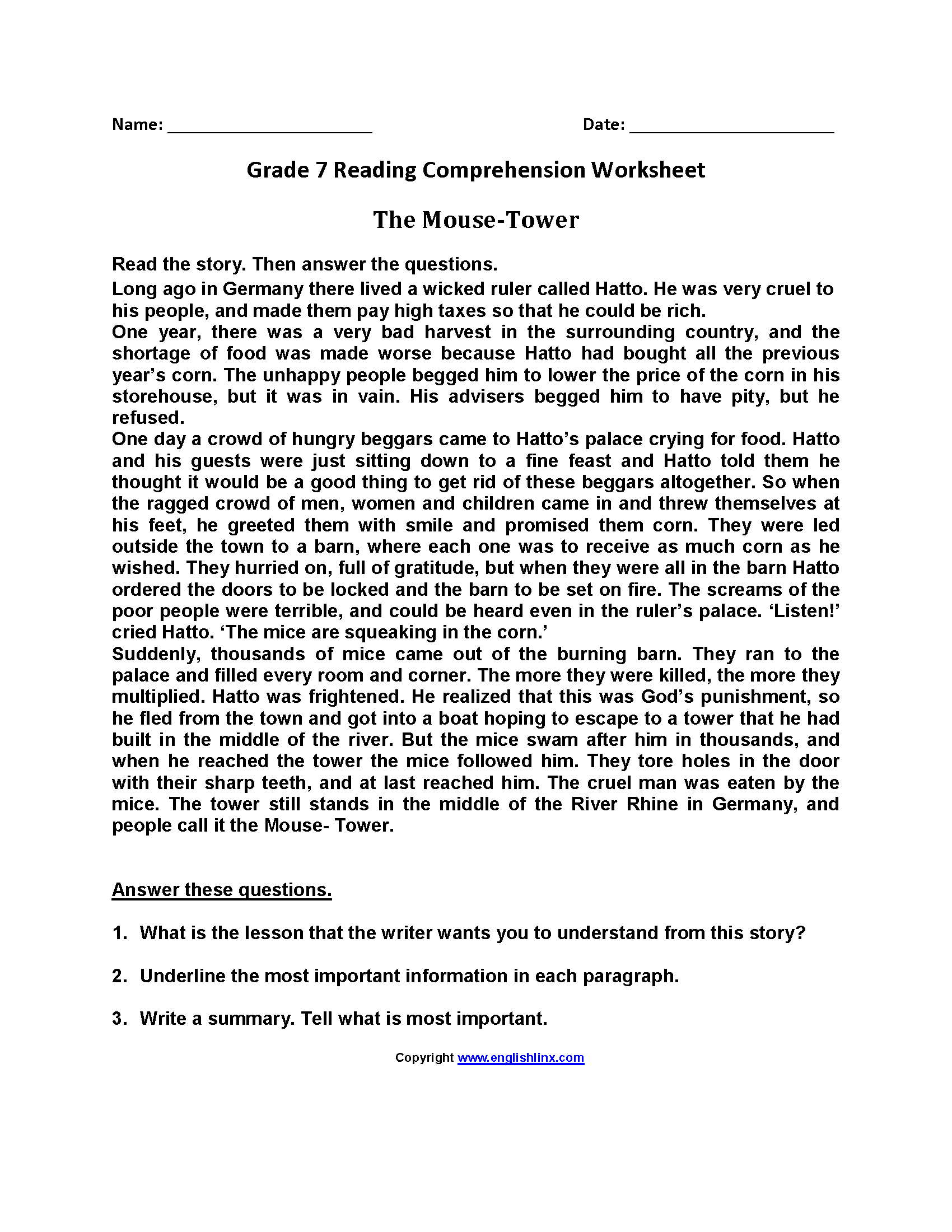 - Reading Worksheets Seventh Grade Reading Worksheets Reading