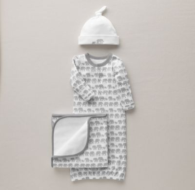 Petite Nursery Elephant Jersey Newborn Gift Set