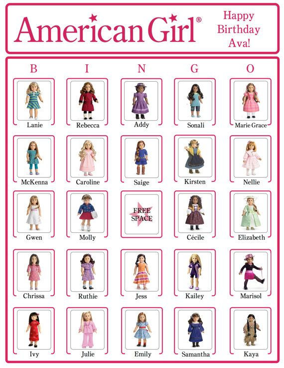 Bingo American Girl Birthday Party Game Cards (NOW WITH American