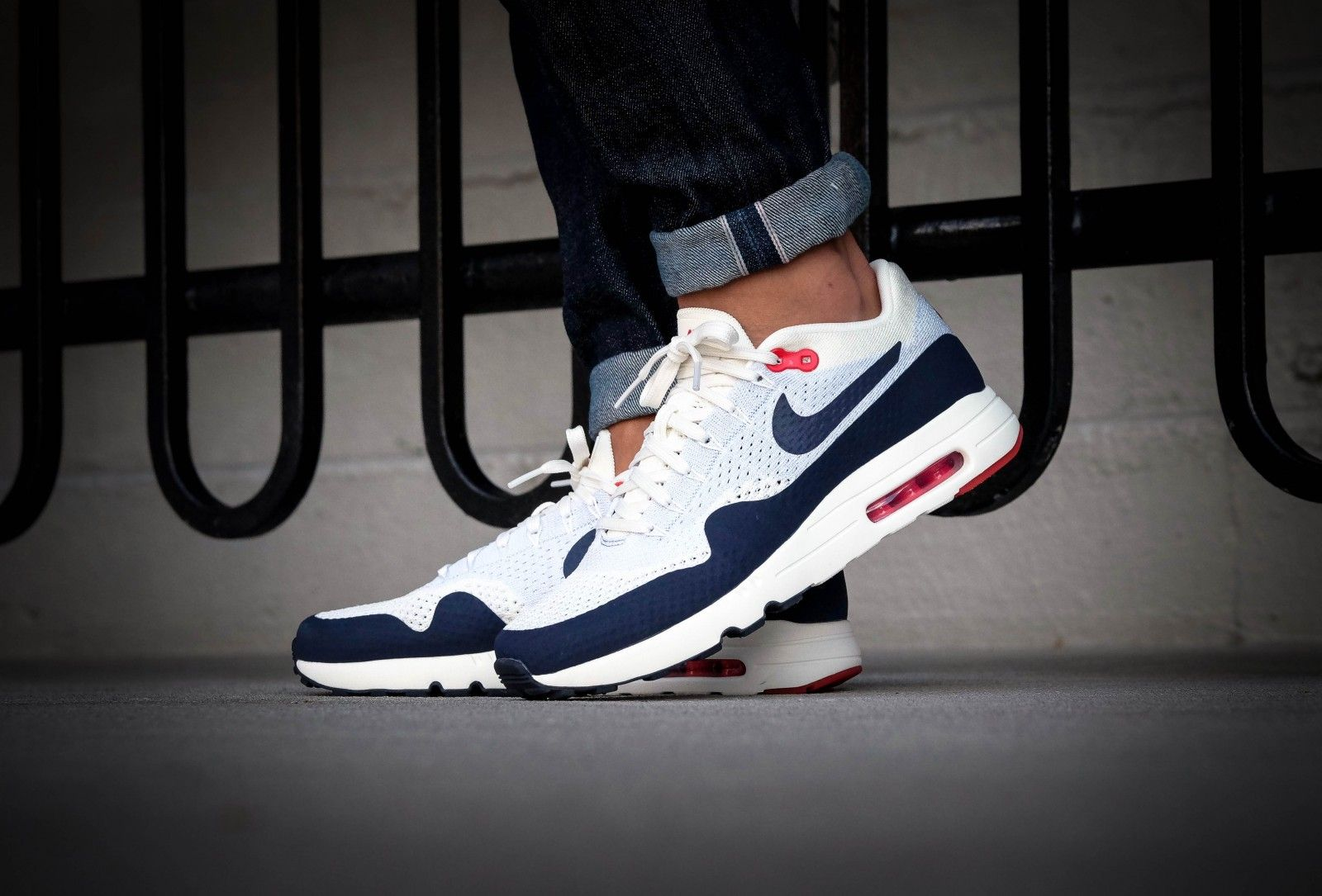 b5c86cc4d6 Nike Air Max 1 Ultra 2.0 Flyknit Sail/Obsidian-Wolf Grey-University Red