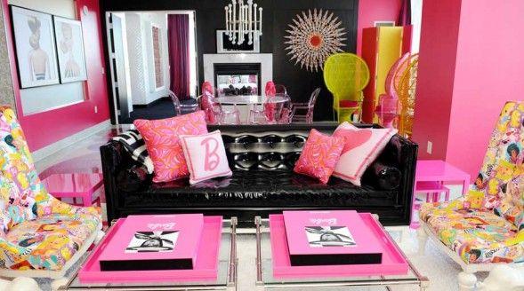 Living room of the Barbie Suite, Palms Las Vegas.