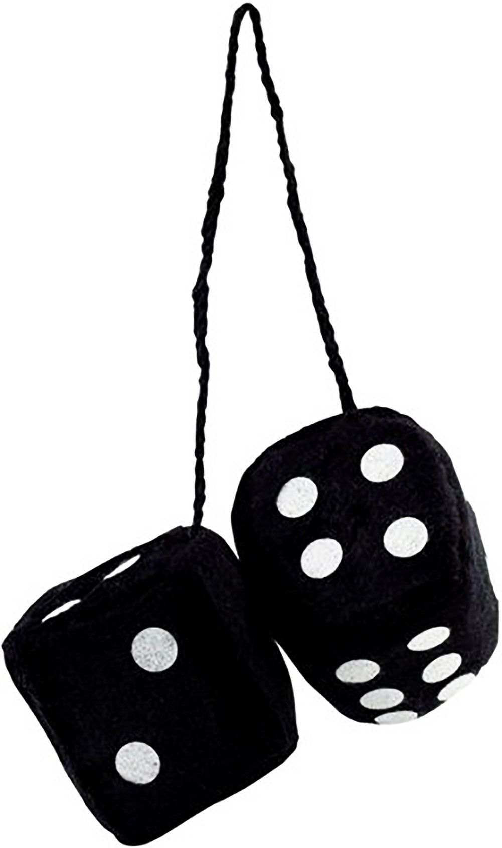 """Cool & Custom {3"""" Inch w/ String} Single Pair of """"Fuzzy, Furry & Fluffy Plush Dice"""" Rear View Mirror Hanging Ornament Decoration w/ Classy Vintage Muscle Car Design [Scion Black and White Color]"""