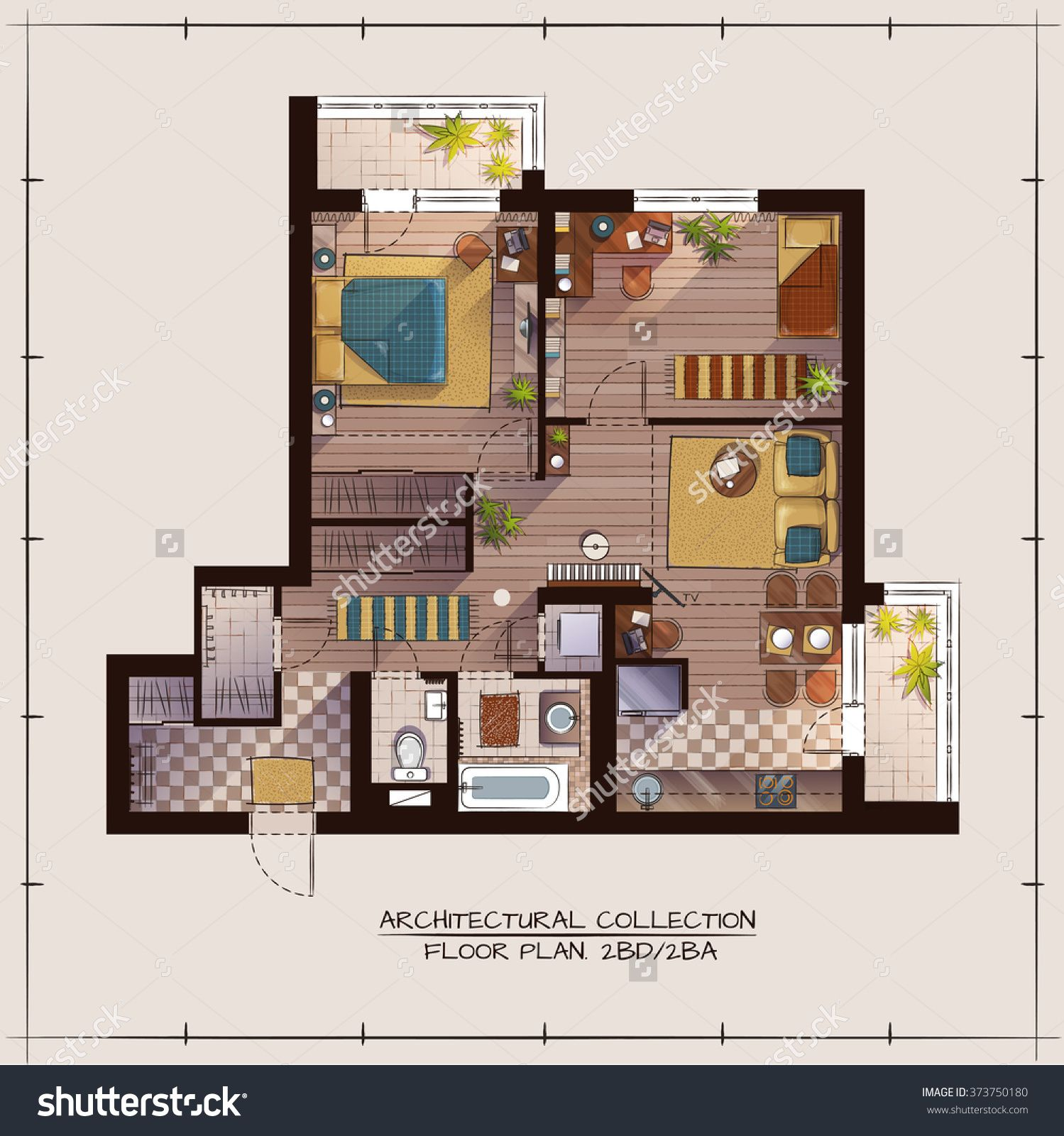 Architectural Color Floor PlanTwo Bedrooms Apartment Stock Vector