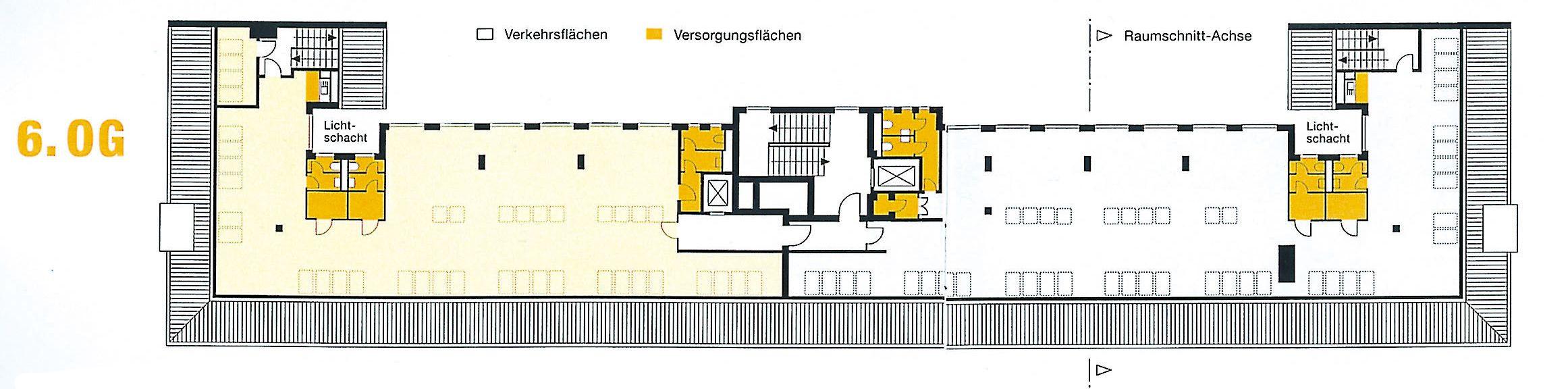 Historische Substanz - modernes Bürogebäude. Die Ausstattungsqualität, die im Haus verwirklicht ist, entspricht den Anforderungen an moderne Büroflächen. Der eindrucksvolle Bürobereich vom 1. bis 5. OG ist der Architektur der 30er Jahre verpflichtet (Baujahr 1937, Modernisierung 1994/2000). Im Erdgeschoß stehen flexibel aufteilbare Ladenflächen mit großzügigen Schaufenstern zur Verfügung.
