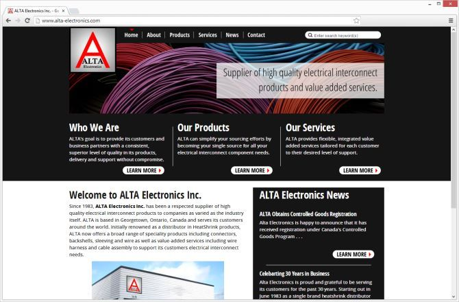 Alta Electronics Inc Of Georgetown Ontario Had A Website Developed By Mocoda Interactive In 2006 After 7 Years A Move An Web Graphic Design Web Design Alta