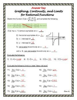 Form A Graphing Continuity And Limits With Rational Functions