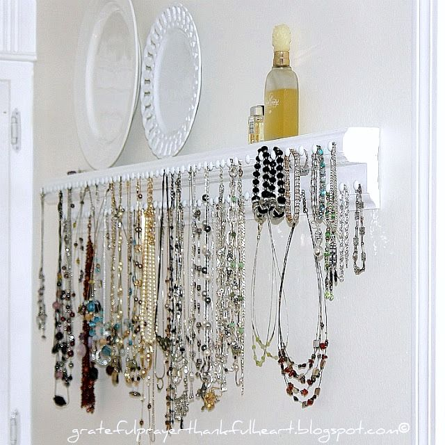 Necklace and Jewelry Organizer Wooden necklace Organizing and Shelves