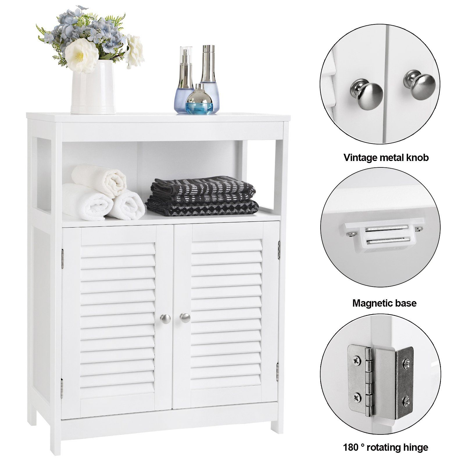 SONGMICS Bathroom Cabinet Storage Floor Cabinet Free