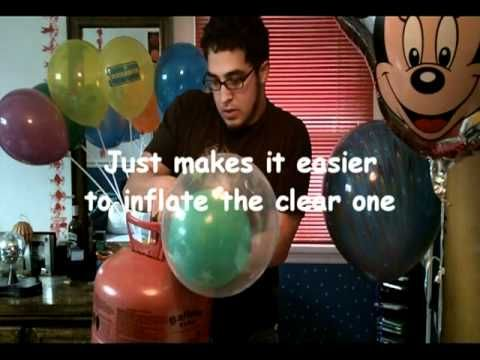 Diy How to inflate : blow up a colored balloon inside another clear balloon (helium) YouTube tutorial!