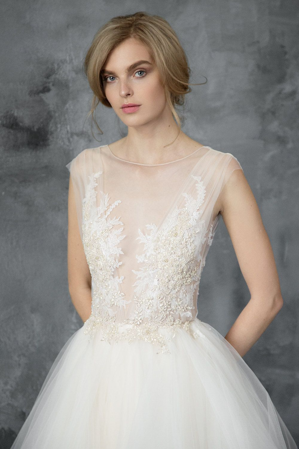 Champagne and ivory wedding dress  Champagne and ivory tulle wedding dress  Dione  Open back bridal