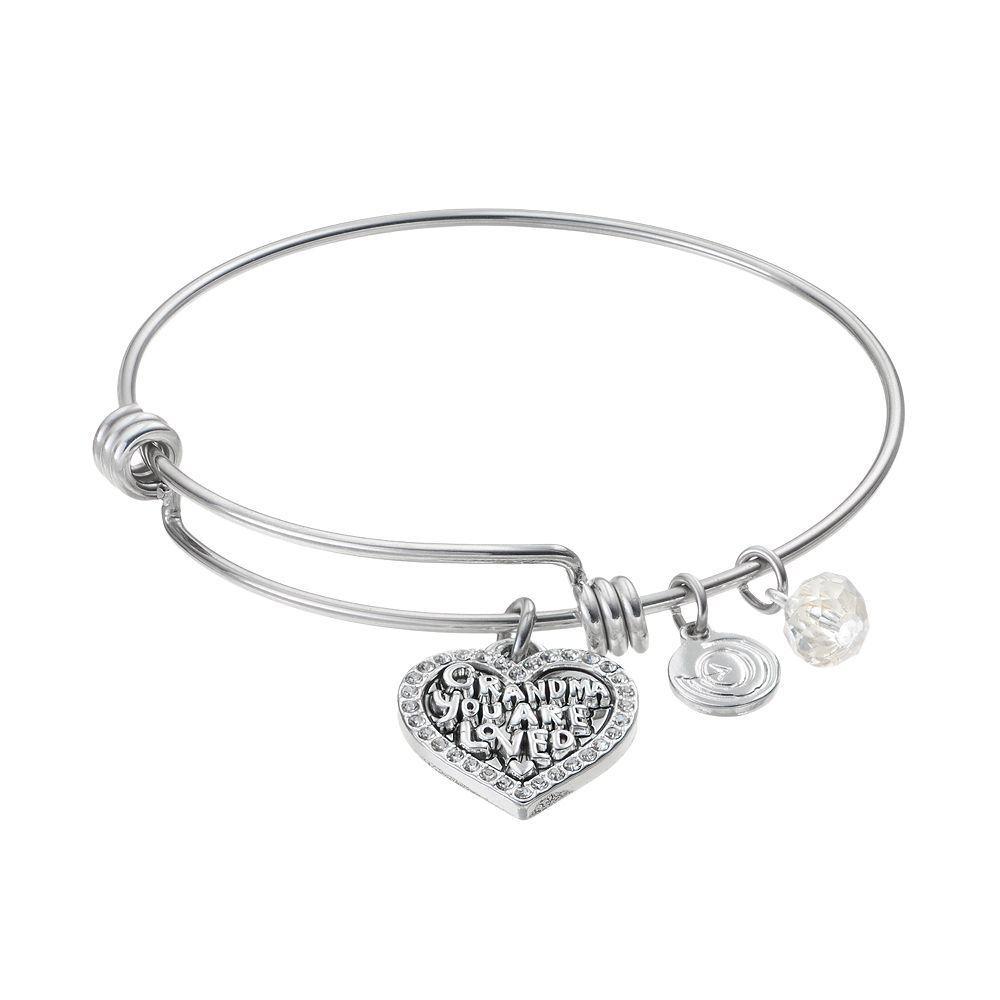 Love this life crystal grandma heart charm bangle bracelet womenus