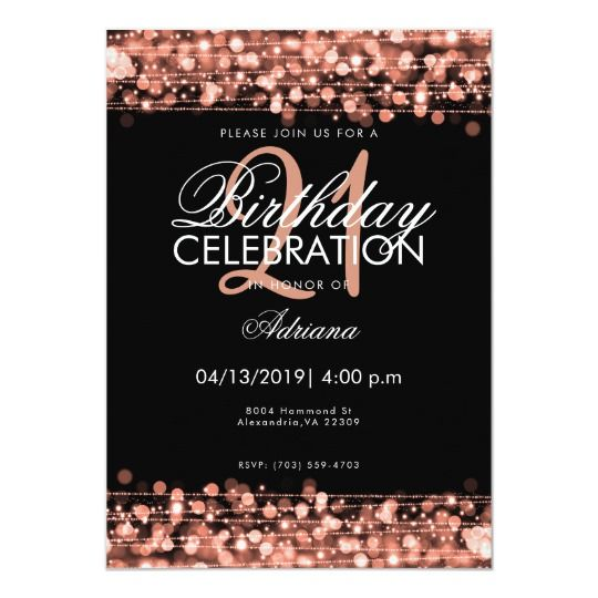 classy 18th birthday party sparkles rose gold invitation