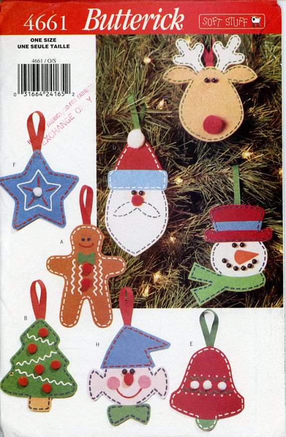 Butterick 4661 Felt Christmas Ornament Pattern 8 No Sew Painted Felt ...