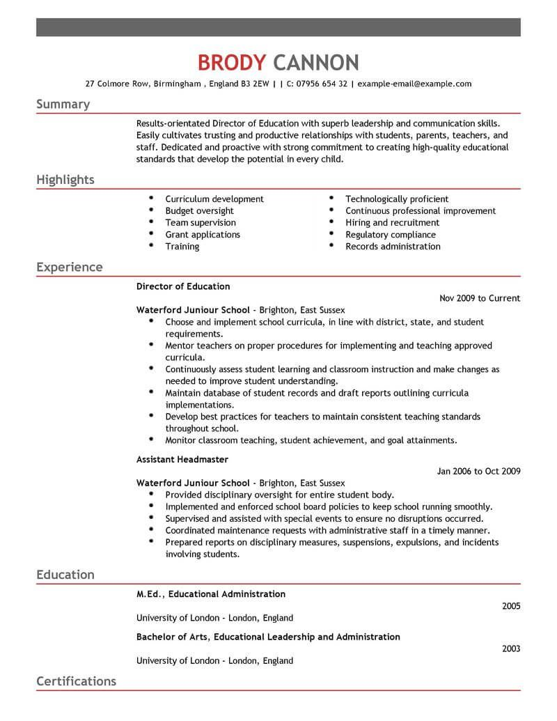Director With Images Resume Examples