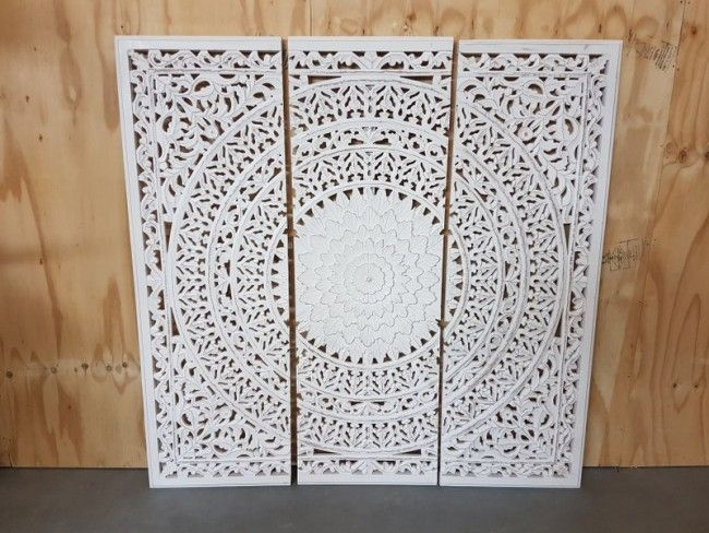 Houtsnijwerk paneel barcelona white wash 160 x 160 cm woonkamer