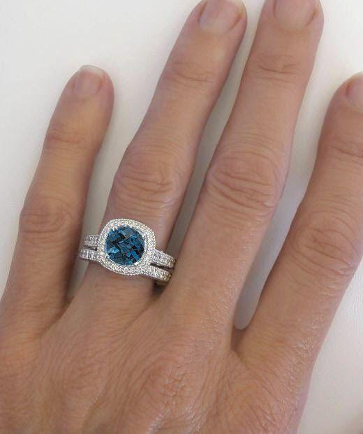 8mm Cushion Cut London Blue Topaz Engagement Ring London Blue