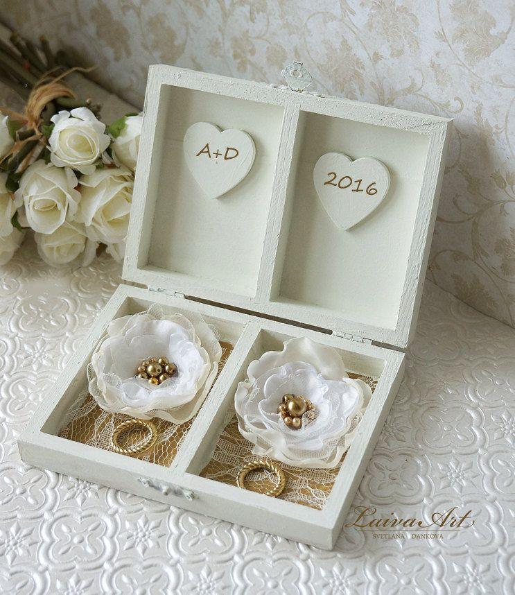Personalized Ring Bearer Box Gold Wedding Ring Bearer Pillow