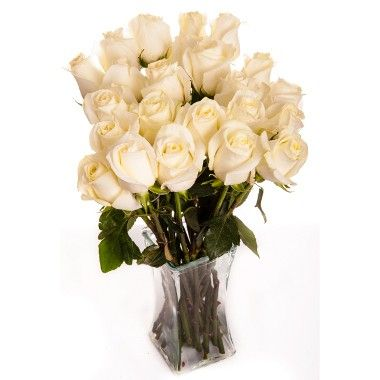 Two Dozen White Roses Bouquet with Vase and Luxury Gift Box from RoseSource.com.