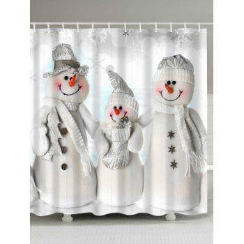 Waterproof Polyester Snowman Christmas Shower Curtain Mason jars