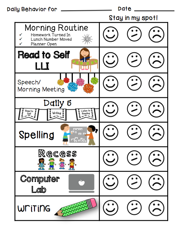 Behavior Calendar Kindergarten : Individual student behavior management classroom