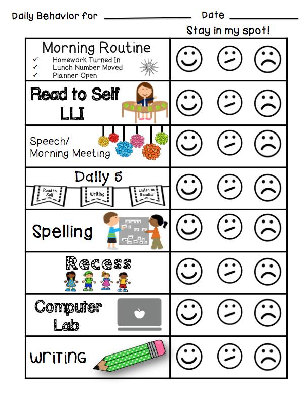 Individual Student Behavior Management  Classroom Behavior Chart