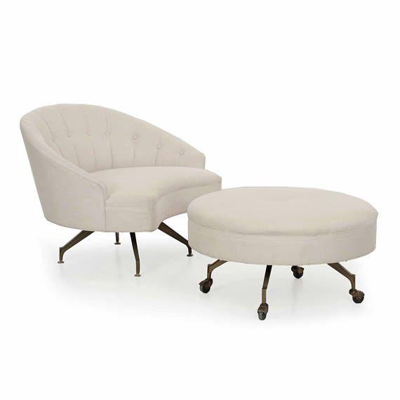 Unusual Vintage Tufted White Linen Roundback Arm Chair