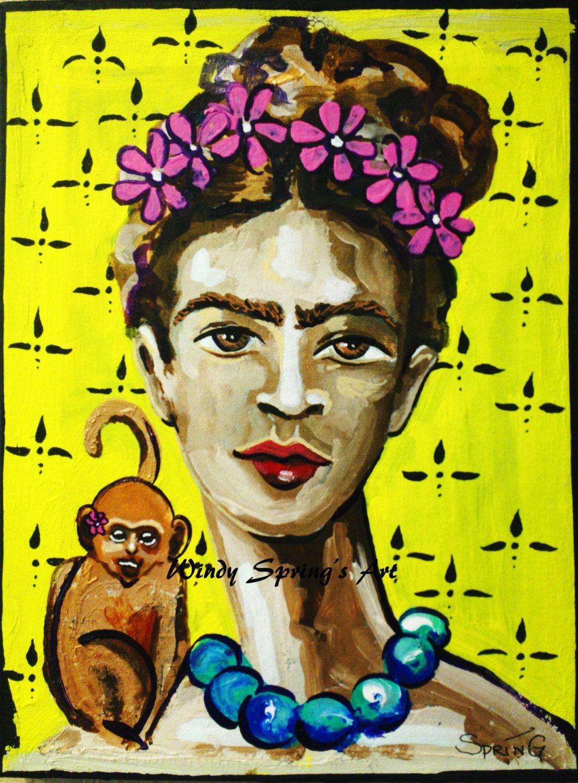 Frida Kahlo Monkey on My Back by Windy Spring 12x16 ORIGINAL ...