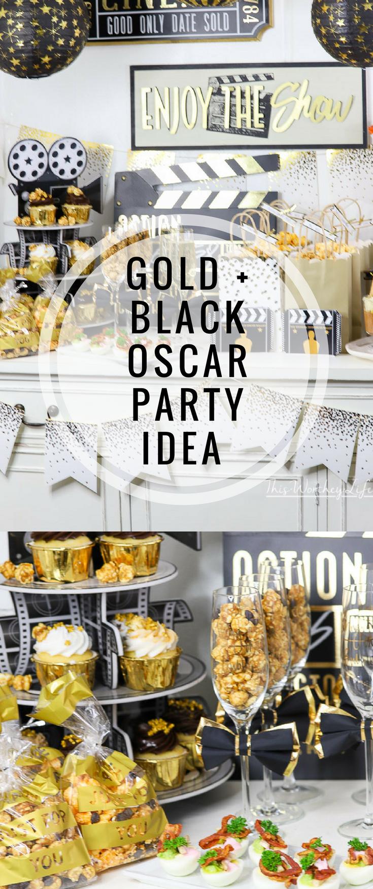 Gold Oscar Party Idea | Oscar party, Party planning and Birthdays