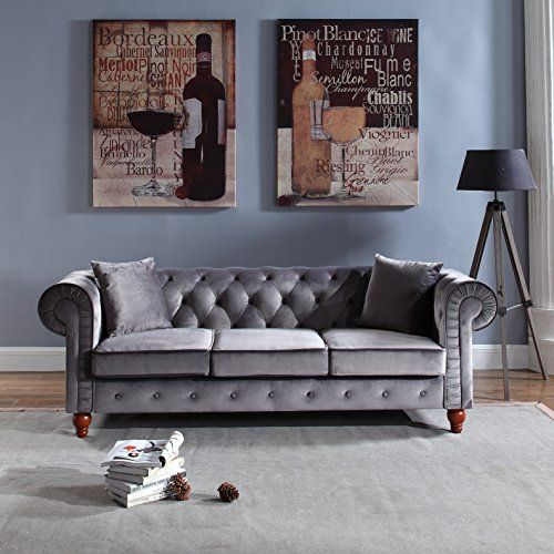 Divano Roma Furniture Classic Velvet Scroll Arm Tufted Button Chesterfield Style Sofa Grey