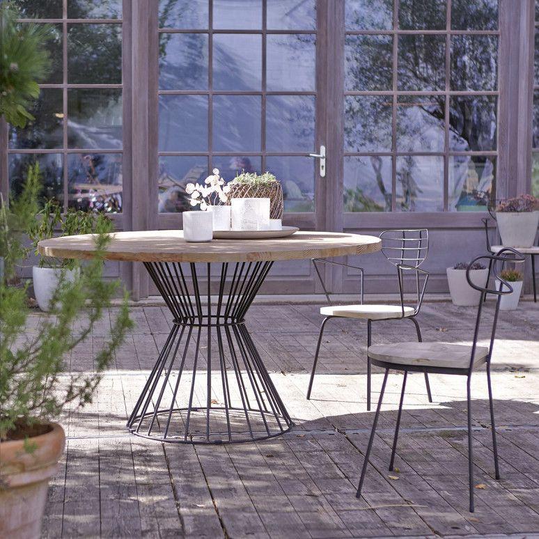 Table Metal Et Pin Vente De Tables De Jardin Ronde 140 Lina Chez