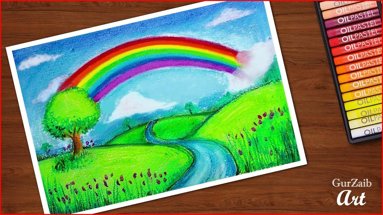How To Draw A Rainbow Scenery Drawing With Oil Pastels Step By