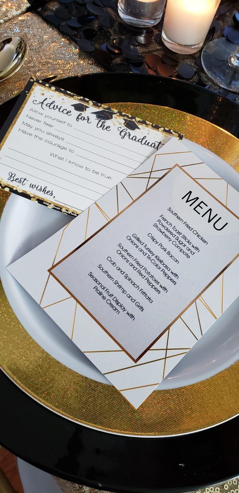 custom gold geometric menu cards  menu cards cards