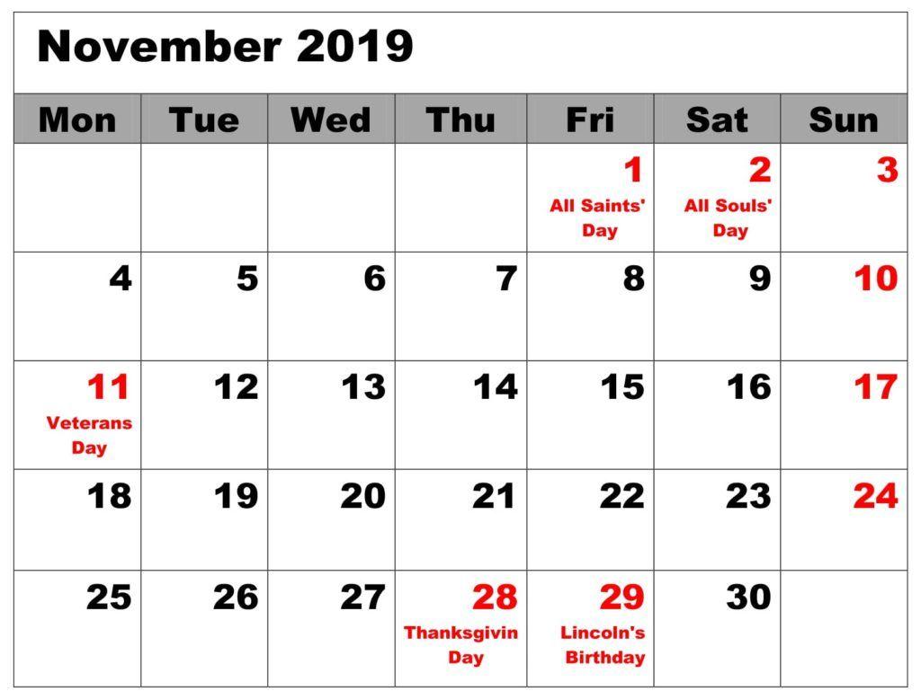 November 2019 Blank Calendar With Holidays Printable Calendar Template Calendar Template Calendar Monthly Planner